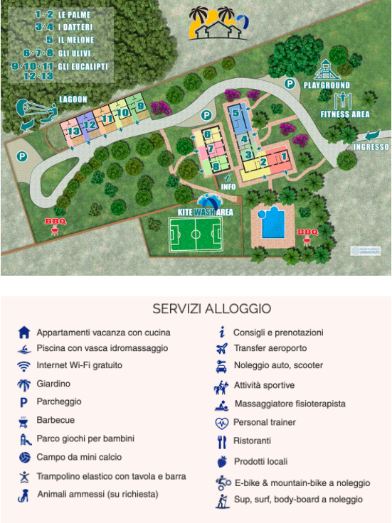Piantina e servizi Kite Camp Sardinia 2020
